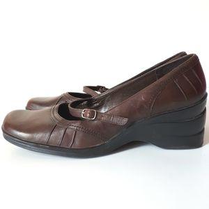 Aldo Leather Square Toe Wedge Heel Mary Jane Shoe